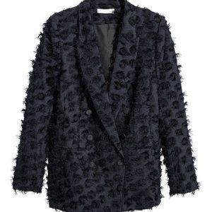 H&M Double Breasted Jacket with Fringe Dark Blue